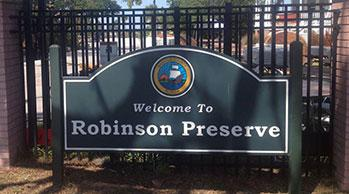 robinson preserve entrance sign